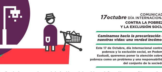 Comunicado 17 octubre Día Internacional contra la pobreza y la exclusión social