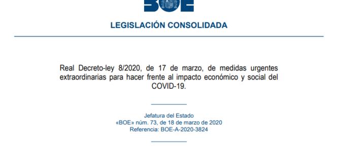 BOE Real Decreto por el que se adoptan medidas urgentes para responder al impacto económico del COVID-19